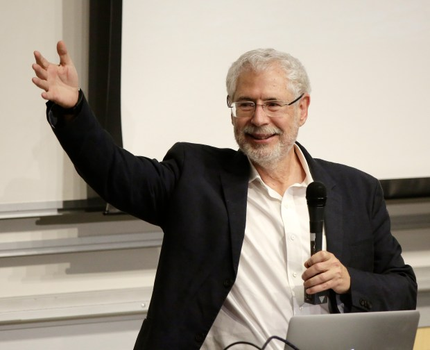 Professor of hacking for defense Steve Blank speaks to the students and guest during presentation at Bishop Auditorium at Stanford University, Stanford, California., on Tuesday, June , 2017. Hacking for Defense, students develop technology for military/intelligence. (Josie Lepe/Bay Area News Group)