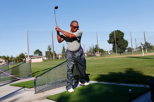 Ken Nash, of San Jose, practices before it gets too hot at the Rancho del Pueblo driving range in San Jose, California, on Monday, June 19, 2017. Warm temperatures are expected to last through the week in the Bay Area. (Gary Reyes/ Bay Area News Group)