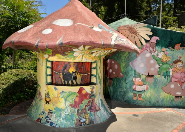 Part of a stage where children's shows are performed is photographed at Pixie Woods in Stockton, Calif., on Wednesday, May 31, 2017. The fairyland-type park opened in 1954 and features kid-themed play areas, amusement rides, and a dragon water play area. The park is open from 11:00 a.m. to 4:00 p.m. Thursday through Sunday until August 5, when it is open on weekends only. (Doug Duran/Bay Area News Group)