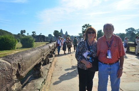 Dublin residents Elaine and Ron Lingle's recent river boat cruise up theMekong River included a stop at the 12th century temple of Angkor Wat. (Courtesy of the Lingle Family)