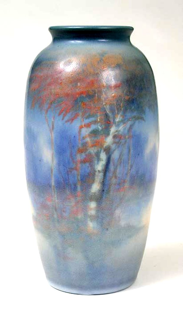 A circa 1940s Rookwood vase like this by artist Edward Timothy Hurleycould sell for as much as $1,500. (Photo courtesy of Philip Chasen Antiques, Norwich, New York)
