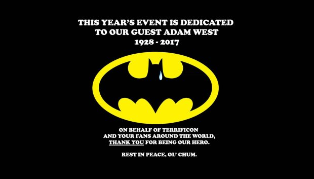 "One of the late summer stops on the Batman and Robin nostalgia tour was to be in Connecticut at TerrifiCon, which updated its website Saturday to adda tear-stained bat emblem and say publicly to Adam West: ""On behalf of TerrifiCon and your fans around the world, thank you for being our hero. Rest in peace, ol' chum."" (Image courtesy of TerrifiCon)"