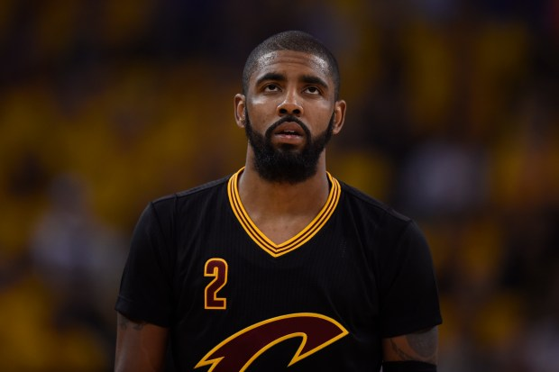 Cleveland Cavaliers' Kyrie Irving (2) looks up while playing the Golden State Warriors during the first quarter of Game 2 of the NBA Finals at Oracle Arena in Oakland, Calif., on Sunday, June 4, 2017. (Jose Carlos Fajardo/Bay Area News Group)