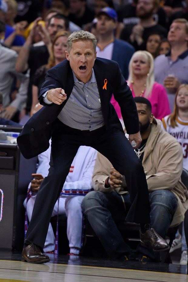 Golden State Warriors head coach Steve Kerr gestures to his players during the second quarter of Game 4 of the NBA Finals at Quicken Loans Arena in Cleveland, Ohio, on Friday, June 9, 2017. (Jose Carlos Fajardo/Bay Area News Group)