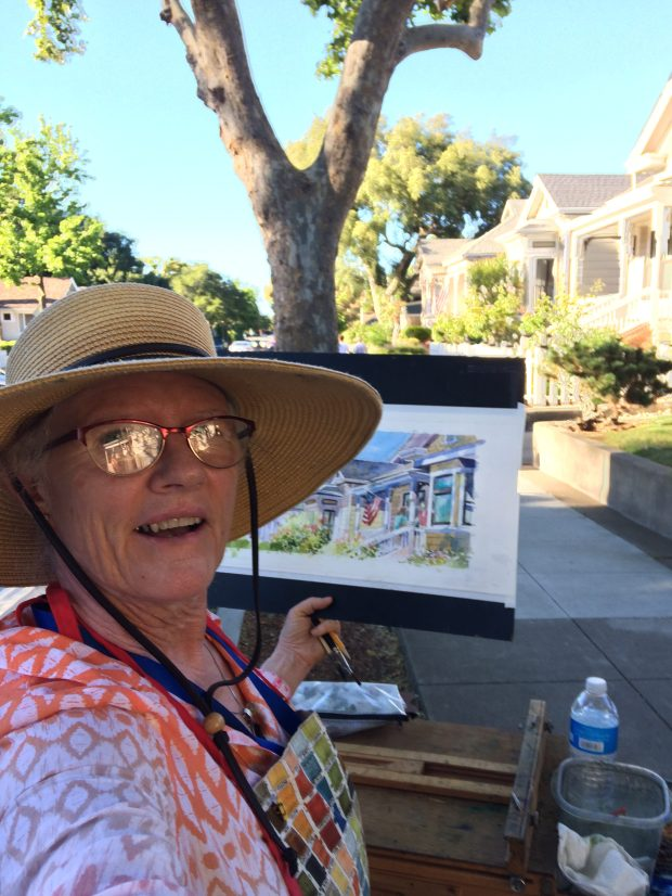 Artist Barbara Tapp with the painting she misplaced after the Los Gatos Plein Air Festival on the weekend of June 16. She's hoping someone knows where the painting went.