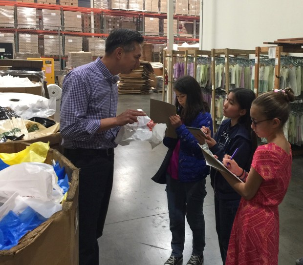AllGirlRhythm Robotics Team members visit a plastics manufacturer as part of their Turtles Against Nurdles, which encourages a reduction in the use of plastic bottles as a way to reduce harm on endangered turtles. (Provided photo)