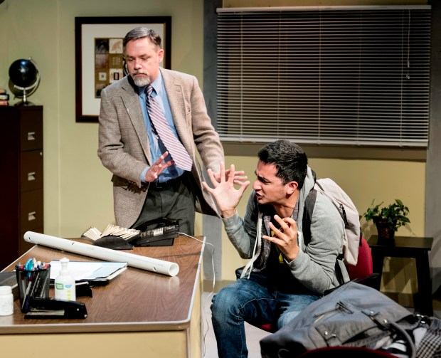 """Edward Hightower, left, and Salim Razawi in Rajiv Joseph's """"The North Pool,"""" running June 23 through July 16, 2017, at the Dragon Theatre in Redwood City. (Lance Huntley / Dragon Theatre)"""