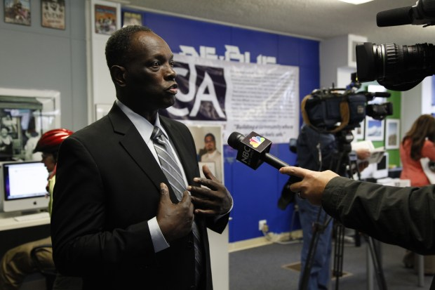 File photo: Walter Wilson of the African American Community Services speaks to the media at a press conference on January 28, 2011. (LiPo Ching/Mercury News)
