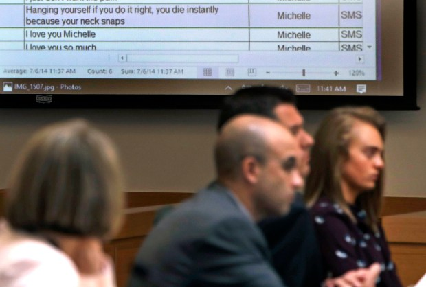 A text on Michelle Carter's phone is displayed during Carter's trial at Taunton District Court in Taunton, Mass., in Taunton, Mass., Thursday, June 8, 2017.  (AP Photo/Charles Krupa, Pool)