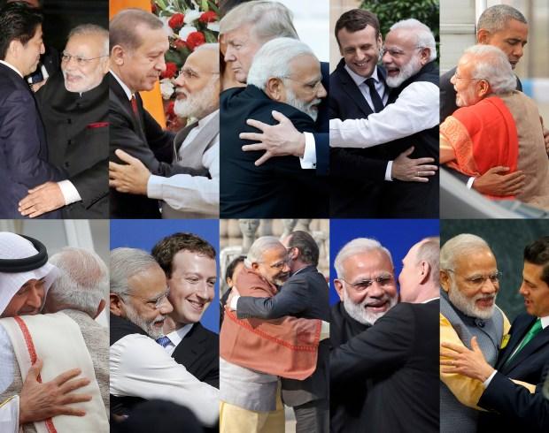 Indian Prime Minister Narendra Modi is seen hugging various VIPs. (AP Photo, File)