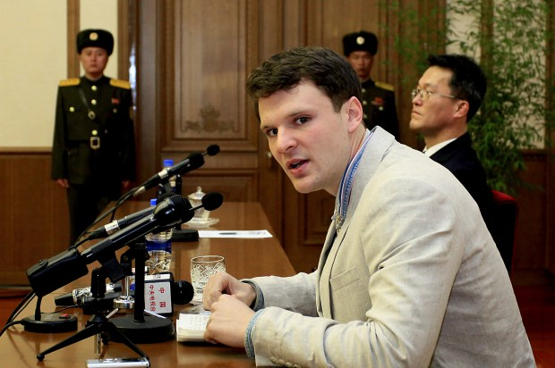 2016: American student Otto Warmbier speaks to reporters in Pyongyang, North Korea.  (AP Photo/Kim Kwang Hyon, File)
