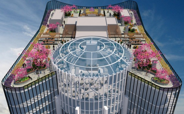 Volar features a public park on its top floor, a first in San Jose. (Courtesy: Salvatore Caruso Design Corporation)
