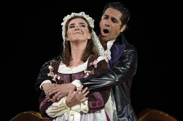 "Sarah Shafer as Zerlina, left, and Ilderando D'Arcangelo as Don Giovanni perform during dress rehearsal for San Francisco Opera's production of Mozart's ""Don Giovanni"" at the War Memorial Opera House in San Francisco, Calif., on Friday, June 2, 2017. (Jose Carlos Fajardo/Bay Area News Group)"