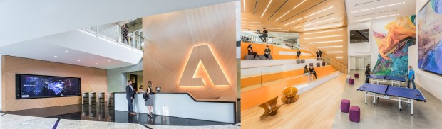Interiors of existing Adobe Systems headquarters in downtown San Jose. July 2017.