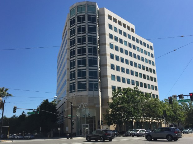 303 Almaden office building, sometimes known as the Ernst & Young Building, downtown San Jose. July 2017