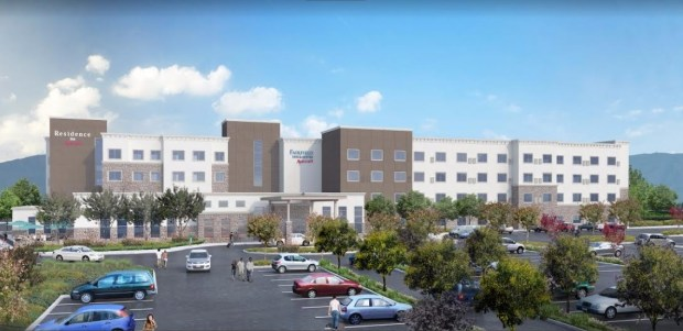 Marriott Residence Inn and Fairfield Inn & Suites proposed for north San Jose in a conceptual image.