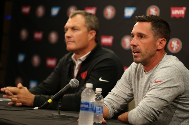 San Francisco 49ers general manager John Lynch, left, and head coach Kyle Shanahan, speak during a news conference at Levi's Stadium in Santa Clara, Calif., on Thursday, July 27, 2017. Players reported for training camp on Thursday with practice to begin on Friday. (Anda Chu/Bay Area News Group)