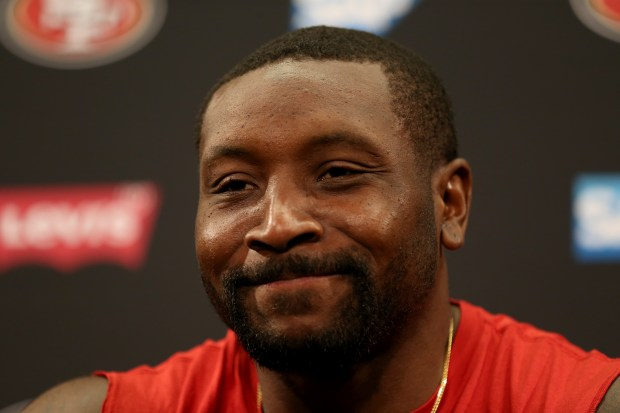 San Francisco 49ers linebacker NaVorro Bowman answers questions during a news conference at Levi's Stadium in Santa Clara, Calif., on Thursday, July 27, 2017. Players reported for training camp on Thursday with practice to begin on Friday.