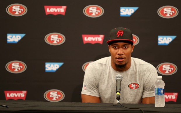 San Francisco 49ers' Eric Reid answers questions during a news conference at Levi's Stadium in Santa Clara, Calif., on Thursday, July 27, 2017. Players reported for training camp on Thursday with practice to begin on Friday.