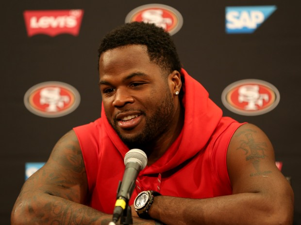 San Francisco 49ers' running back Carlos Hyde answers questions during a news conference at Levi's Stadium in Santa Clara, Calif., on Thursday, July 27, 2017. Players reported for training camp on Thursday with practice to begin on Friday.