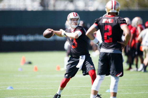 San Francisco 49ers quarterback C.J. Beathard practices during the team's training camp in Santa Clara, California on July 28, 2017. (Dai Sugano/Bay Area News Group)