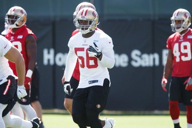 San Francisco 49ers linebacker Reuben Foster practices during the team's training camp in Santa Clara, California on July 28, 2017. (Dai Sugano/Bay Area News Group)