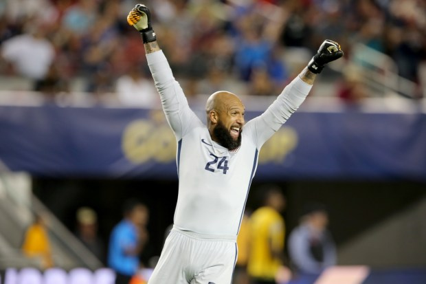 1fd08476876 USA goalie Tim Howard (24) celebrate their 2-1 win against Jamaica in