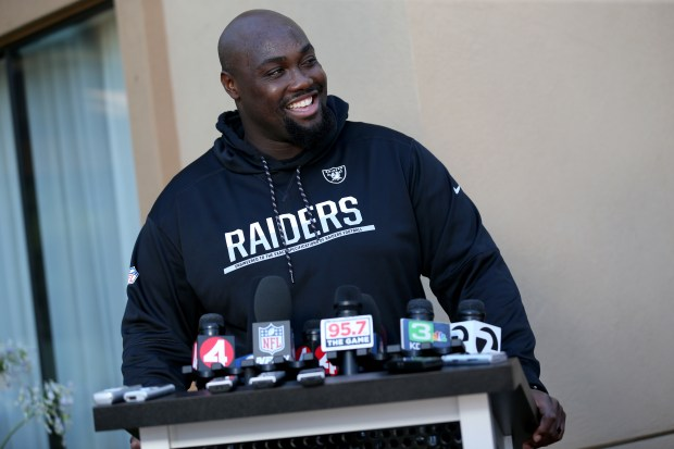 Oakland Raiders center Rodney Hudson answers questions during a news conference at the team's training camp in Napa, Calif., on Friday, July 28, 2017. Players reported to training camp and will begin practice on Saturday. (Anda Chu/Bay Area News Group)