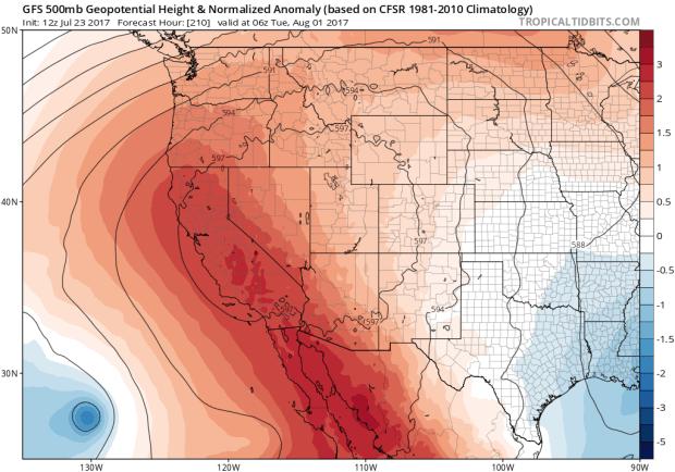 There's a high pressure ridge over California, creating a hot July. (Daniel Swain, NCEP via tropicaltidbits.com)