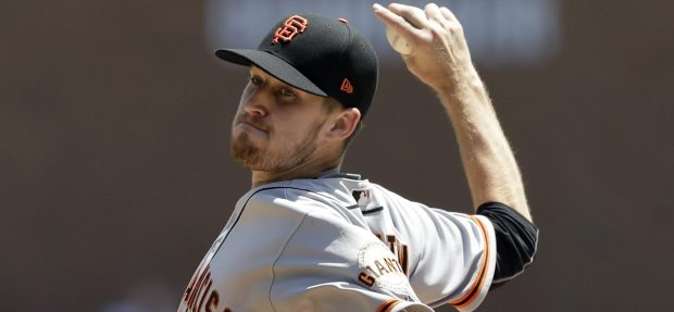 San Francisco Giants starting pitcher Chris Stratton throws during the fourth inning of a baseball game against the Detroit Tigers, Thursday, July 6, 2017, in Detroit. (AP Photo/Carlos Osorio)