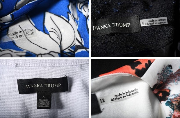 Among the current items in Ivanka Trump's line are, clockwise from top left, a blouse made in China, a suit jacket made in Vietnam, a dress made in Indonesia and a denim jacket made in Bangladesh. (Photos by Matt McClain/The Washington Post)