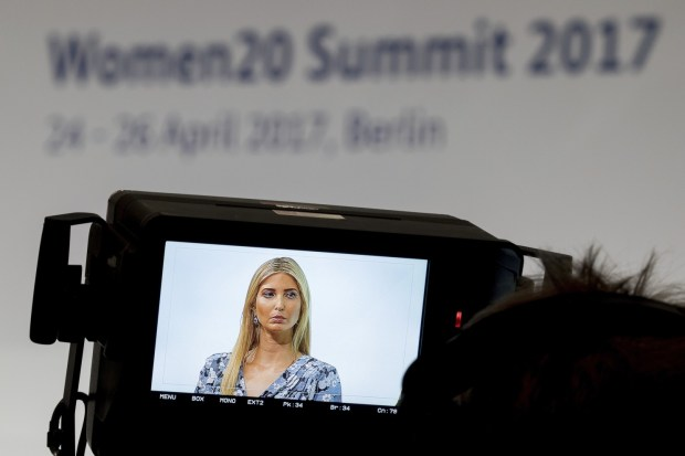 Ivanka Trump is shown on a camera display during the Women20 Summit in Berlin in April. (Kay Nietfeld/Associated Press Images)