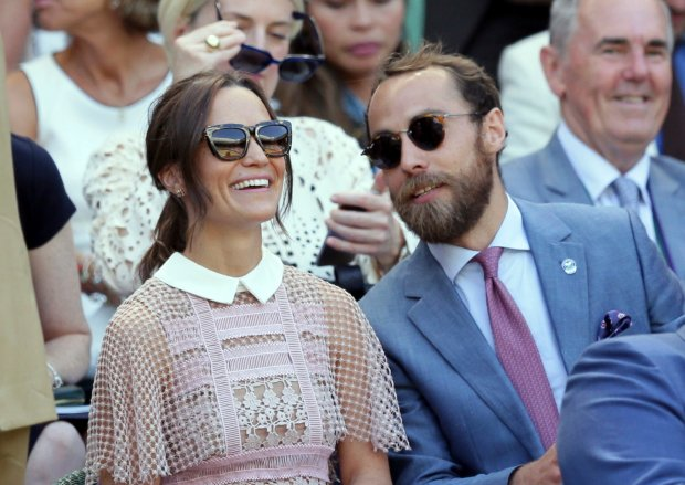 Pippa Middleton, left and her brother James sit in the Royal Box on day three at the Wimbledon Tennis Championships in London Wednesday, July 5, 2017. (AP Photo/Tim Ireland)