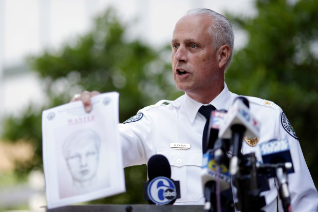 West Goshen Police Chief Joseph Gleason speaks to the media during a news conference outside police headquarters, Friday, June 30, 2017, in West Goshen, Pa. A man driving down a Pennsylvania highway shot recent high school graduate Bianca Roberson, 18, in the head, killing her, as the two tried to merge into a single lane, authorities said. (AP Photo/Matt Slocum)