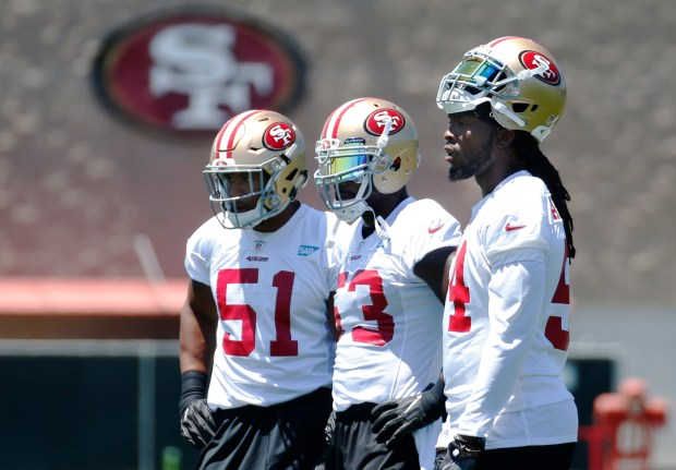 From left, Malcolm Smith (51), NaVorro Bowman (53) and Ray-Ray Armstrong (54) take part in the San Francisco 49ers organized team activity at Levi's Stadium in Santa Clara, Calif., Wednesday, May 31, 2017. (Patrick Tehan/Bay Area News Group) takes part in the San Francisco 49ers organized team activity at Levi's Stadium in Santa Clara, Calif., Wednesday, May 31, 2017. (Patrick Tehan/Bay Area News Group)