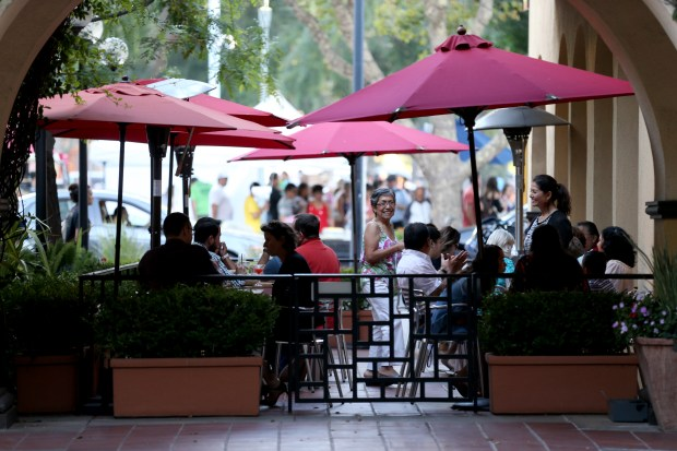 Diners enjoy the outdoor patio at LiMA Peruvian restaurant in Concord, Calif., on Thursday, July 20 2017. (Anda Chu/Bay Area News Group)