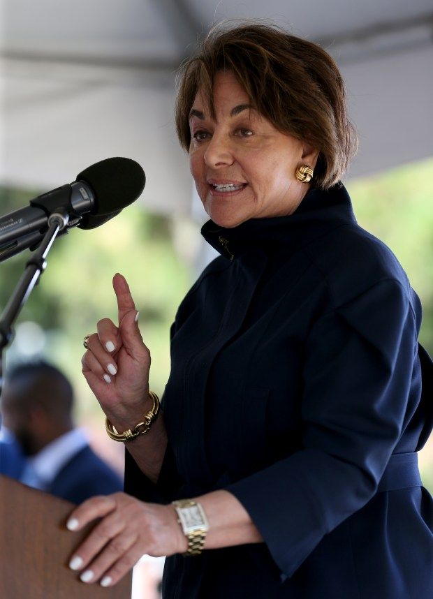 Congresswoman Anna Eshoo speaks at a groundbreaking ceremony for Caltrain's electrification project at the Millbrae Caltrain Station in Millbrae, Calif., on Friday, July 21, 2017. The project aims to equip the train line between San Francisco and San Jose with high-performance electric trains and offer faster, more frequent service for a rapidly increasing ridership. (Anda Chu/Bay Area News Group)