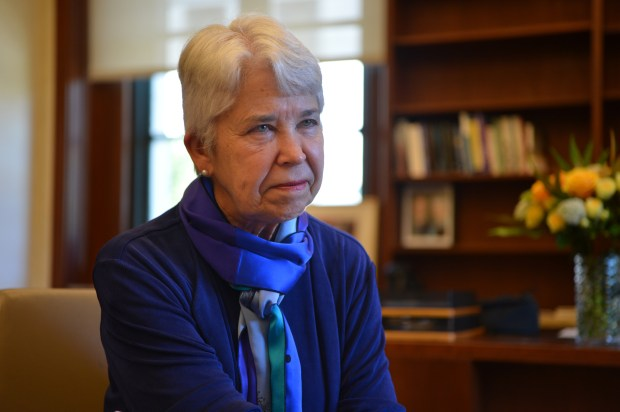 UC Berkeley Chancellor Carol Christ talks about her new role during an interview in her office in Berkeley, Calif. on Thursday, July 6, 2017. (Kristopher Skinner/Bay Area News Group)