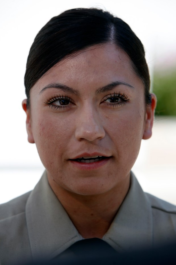 Karen Davalos, a member of the incoming correctional deputy academy class, speaks outside the Santa Clara County Sheriff's Office, Monday, July 3, 2017, in San Jose, California. (Karl Mondon/Bay Area News Group)