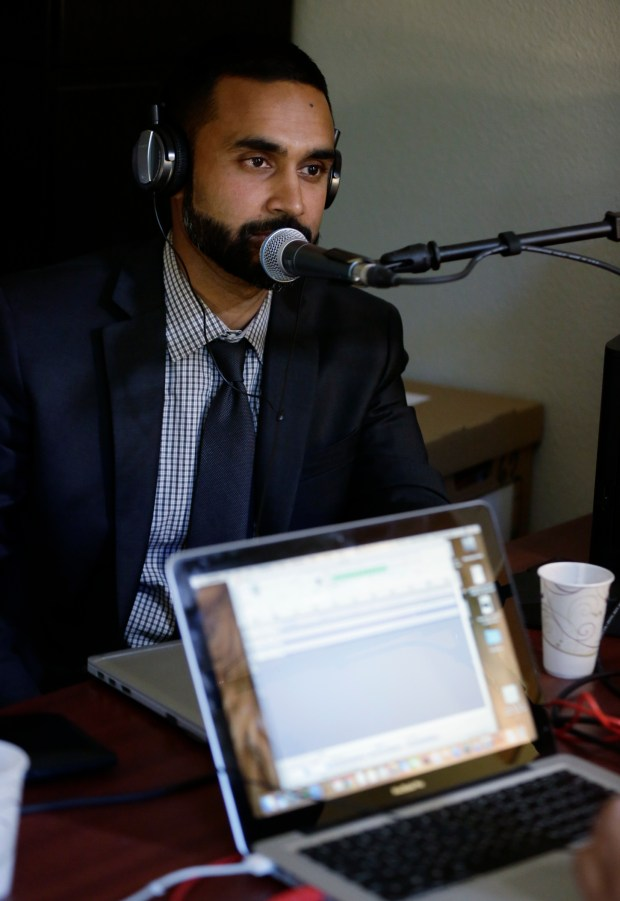 "Santa Clara County deputy public defender, Sajid Khan is photographed while recording an episode of ""Aider and Abettor,"" the podcast he co-hosts in San Jose, California, on Monday, July 31, 2017. (Josie Lepe/Bay Area News Group)"