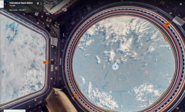 A view of Earth from inside the orbiting International Space Station, viaGoogle Street View (photo courtesy of Google)