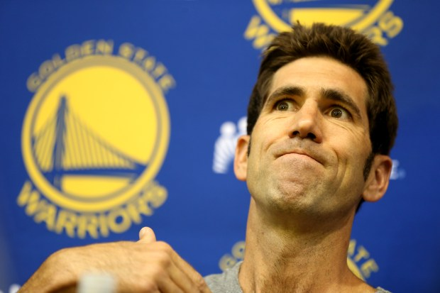Golden State Warriors General Manager Bob Myers speaks with the news media from the team's practice facility in Oakland, Calif., on Friday, July 7, 2017. Myers was available to discuss the on-going free agency period. (Anda Chu/Bay Area News Group)