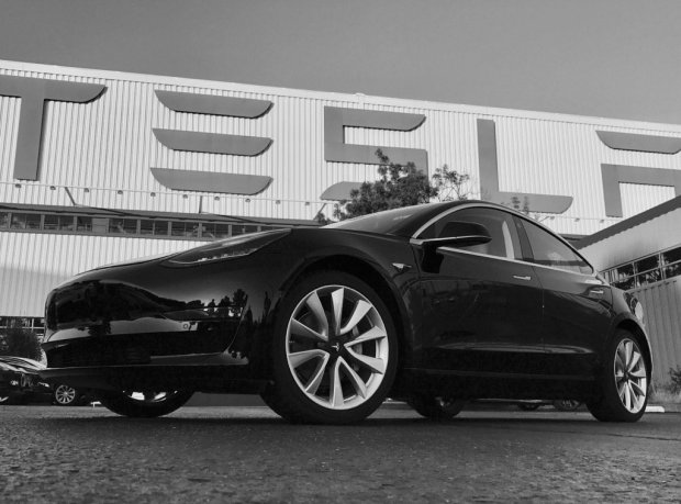 Tesla's first consumer-ready Model 3. CEO Elon Musk tweeted a photo of the car Saturday night. (Photo from Elon Musk's Twitter page)