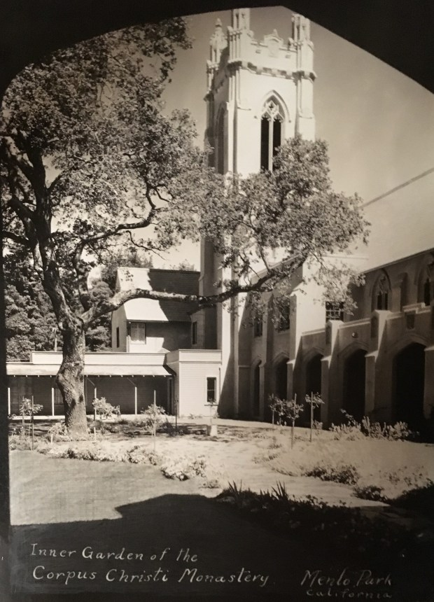 An interior courtyard at Corpus Christi Monastery in Menlo Park is shown in an undated photo. The courtyard is closed to the public, but a free historic walking tour Aug. 5 will stop at the monastery, possibly with a short talk by a representative of the monastery. (Menlo Park Historical Association)