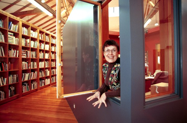 Wanda Corn in 2000, when she was professor of art at Stanford, in her office at the Palo Alto home she and her husband, Joe Corn, bought from painter Sam Francis. The artist had converted the former auto body shop into loft-style living space with a studio. (Linda A. Cicero / Stanford News Service)