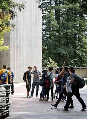 International students entering UC Santa Cruz tour Science Hill as part of an intensive 10-day orientation on cultural norms, English language and navigating the campus. (Dan Coyro/Sentinel file)