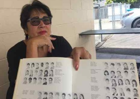 Napa resident and retired psych nurse Lorrain DeGroat holds her 1968 Hogan High School yearbook open to the page containing the regular yearbook photo of her friend Betty Lou Jensen, who that year is believed to have become one of the Zodiac Killer's first victims. (RACHEL RASKIN-ZRIHEN — TIMES-HERALD)