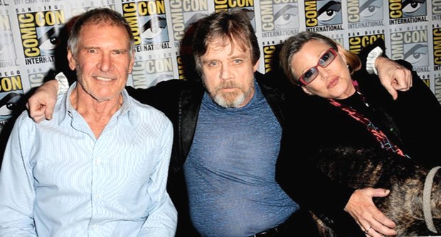 Harrison Ford, Mark Hamill and Carrie Fisher (with Gary the Dog) at ComicCon 2015 in San Diego.. (Albert L. Ortega/Getty Images)