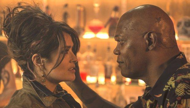 "Samuel L. Jackson with Salma Hayek in ""The Hitman's Bodyguard."" (JackEnglish/Lionsgate)"