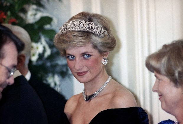 The Princess of Wales is pictured during an evening reception given by the West German President Richard von Weizsacker in honour of the British Royal guests in the Godesberg Redoute in Bonn, Germany on Monday, Nov. 2, 1987. (AP Photo/Herman Knippertz)